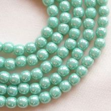 4mm Round Czech Glass Beads Opaque Turquoise Lustre - 100